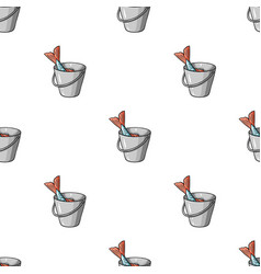 fish in the bucket icon in cartoon style isolated vector image