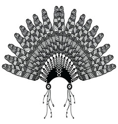Headdress with zentangle feathers vector image vector image