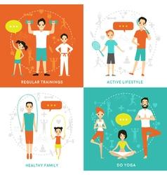 Healthy family flat concept vector