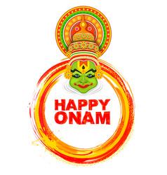 kathakali dancer on background for happy onam vector image vector image
