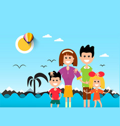 people on beach with ocean waves and palm tre vector image vector image