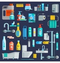 Flat Colored Hygiene Icons Set vector image