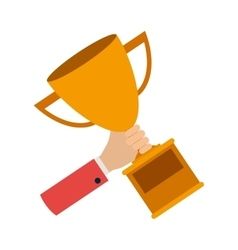 hand with trophy award vector image