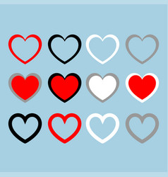 heart set red black white grey color set vector image vector image