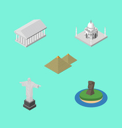 isometric travel set of egypt rio chile and vector image vector image