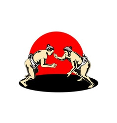 Japanese Sumo Wrestlers Fighting vector image vector image