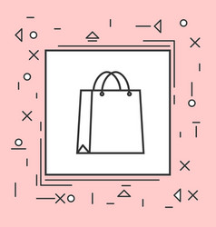 shopping bag icon thin line in pink frame vector image