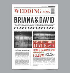 wedding invitation on newspaper front page design vector image