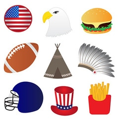 America Icons Set vector image vector image