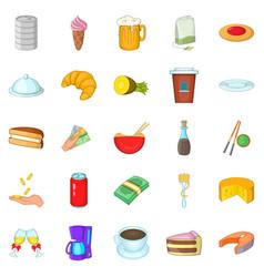 coffee palace icons set cartoon style vector image