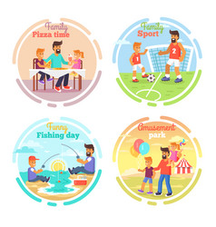 father s day card with happy dads and children vector image
