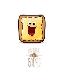 funky cartoon cute white sliced toast bread vector image