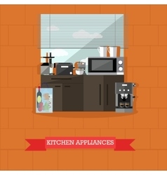 kitchen interior with vector image