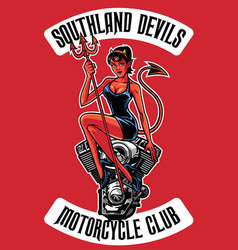 Sexy devil with motorcycle engine vector