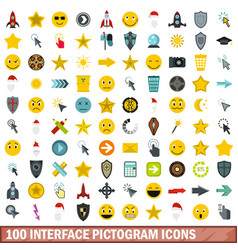 100 interface pictogram icons set flat style vector image