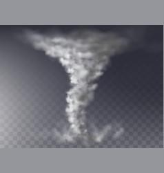 3d realistic tornado grey hurricane storm vector image