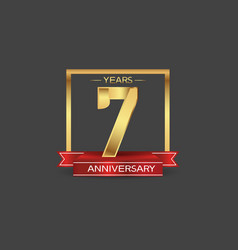 7 years anniversary logo style with golden square vector