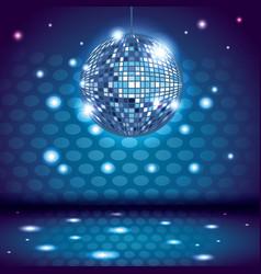 80s disco interior scenery vector image
