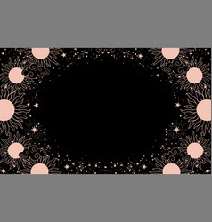 A mystical heavenly black banner with copy space vector
