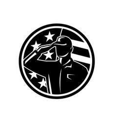 american soldier serviceman saluting flag circle vector image
