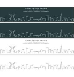 amsterdam single line skyline banner vector image