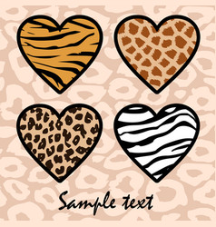Animal print hearts vector image