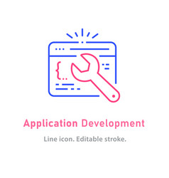 application development line icon on white vector image