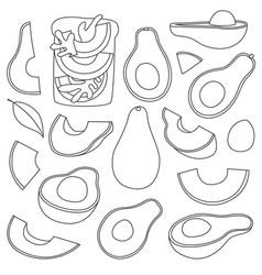 Avocado isolated line set icon vector