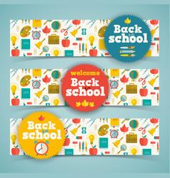 Back to school horizontal banners vector