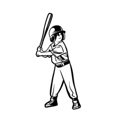 baseball kids player ready hit ball black vector image