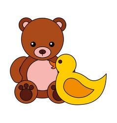bear rubber duck kid toys vector image