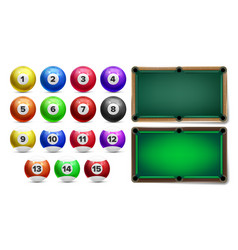 billiard balls with numbers and table set vector image