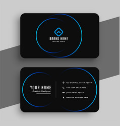Black and blue minimal business card template vector