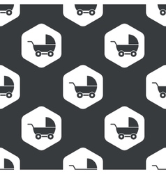 Black hexagon pram pattern vector