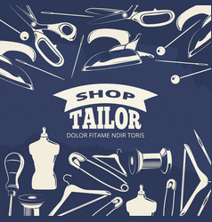 Blue tailor shop fashion banner or poster with vector