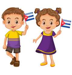 boy and girl holding flag of cuba vector image