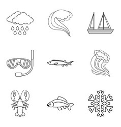Catchment area icons set outline style vector