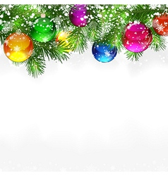 Christmas background with snow-covered branches of vector image