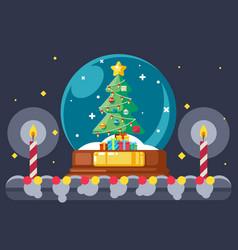 christmas tree gift box glass ball flat design vector image