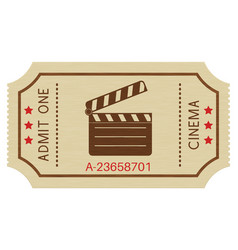 cinema paper ticket old retro styled ticket vector image