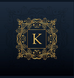 Classic floral monogram design for letter k logo vector