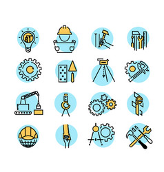 color building icons in simple style industry and vector image
