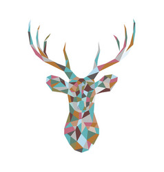 colorful polygonal deer head vector image