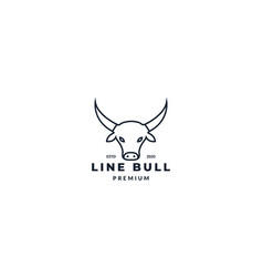 Cow bull or bison or bullock or neat head line vector