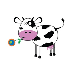 cow with a flower vector image