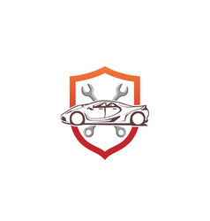creative car shield wrench screwdriver logo design vector image