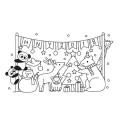 cut animals in christmas party vector image