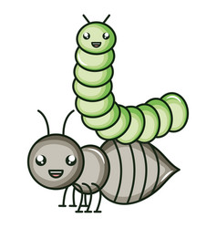 Cute ant insect and worm kawaii characters vector