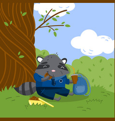 cute little raccoon in school uniform sitting vector image