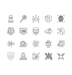data protection line icons signs set vector image